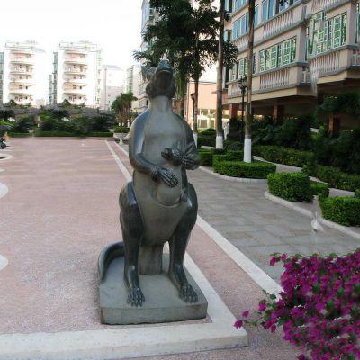 袋鼠石雕,公园动物石雕
