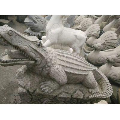鳄鱼石雕,大理石鳄鱼雕塑