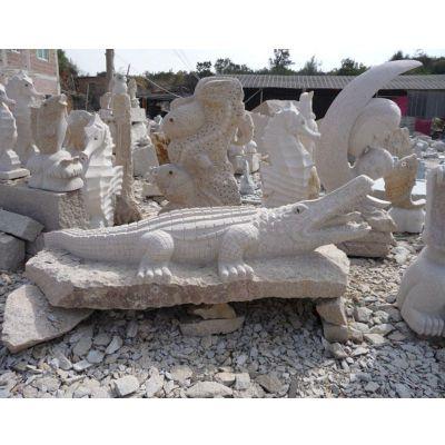 石雕鳄鱼,公园动物石雕