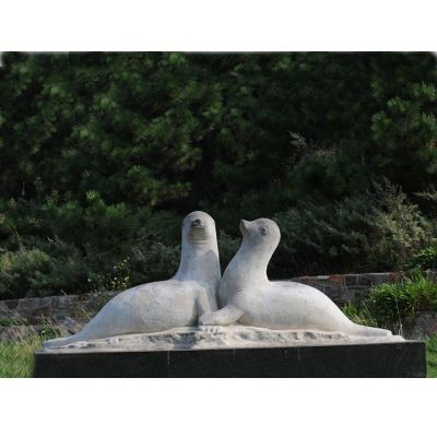 海豹石雕,公园动物石雕