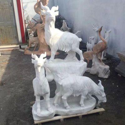 汉白玉三羊开泰石雕