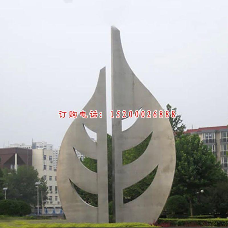 大型创意叶子广场景观,不锈钢雕塑 (2)