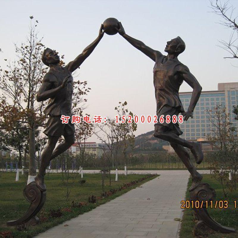 铜雕打篮球雕塑,打篮球人物铜雕