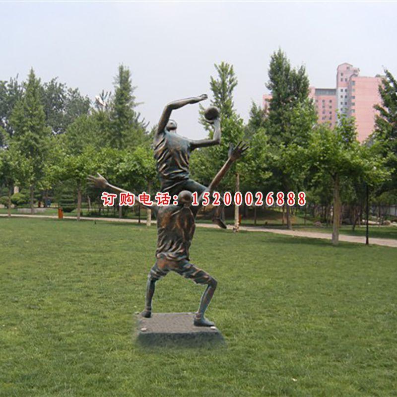 人物铜雕,公园打篮球雕塑