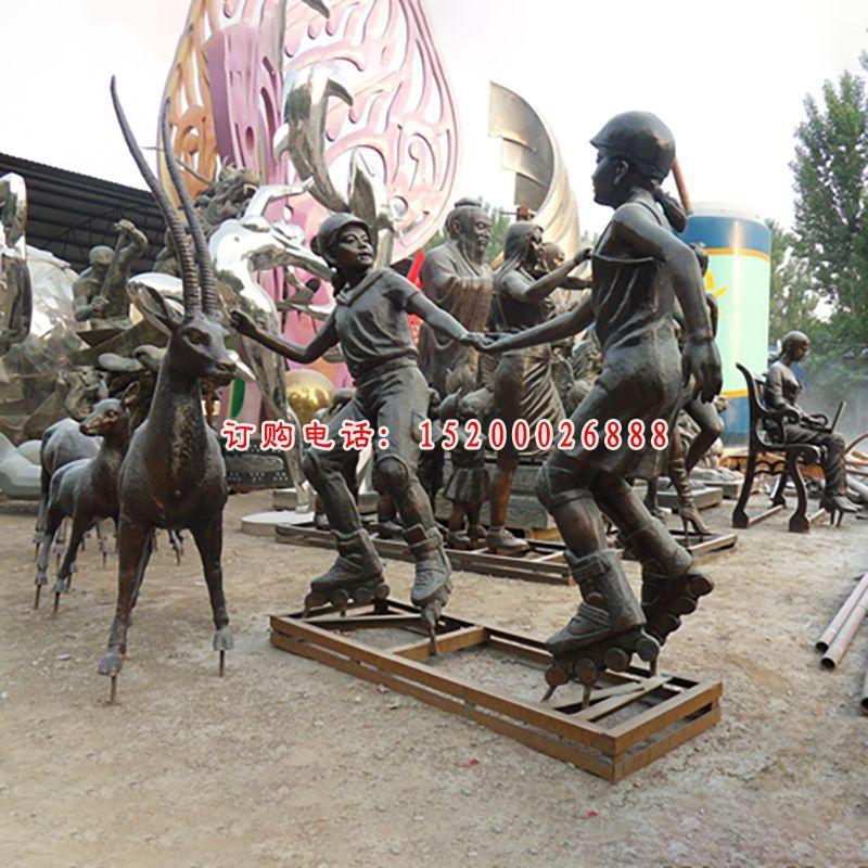 少年轮滑铜雕,公园少年铜雕