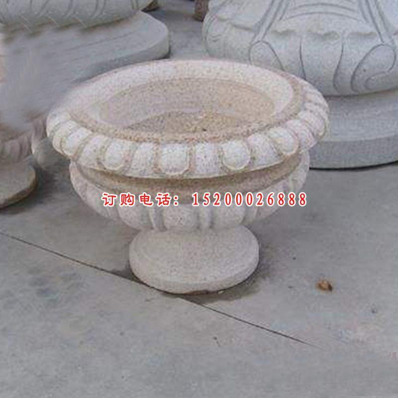 大理石雕刻花盆  石雕庭院景观摆件 (2)