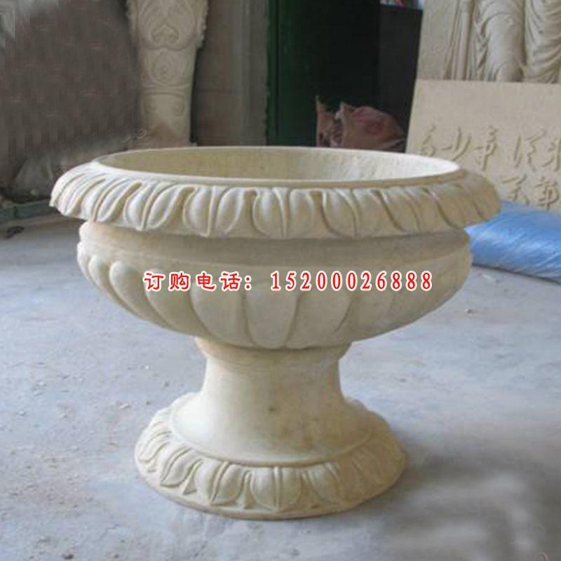 大理石雕刻花盆  石雕庭院景观摆件 (3)