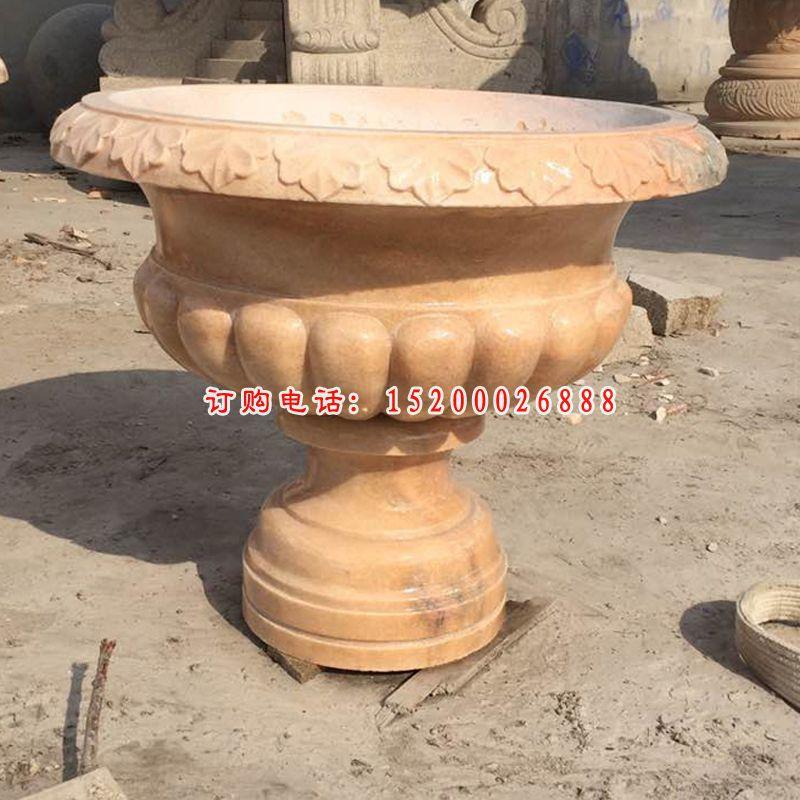 黄锈石花钵  石雕花盆  (1)