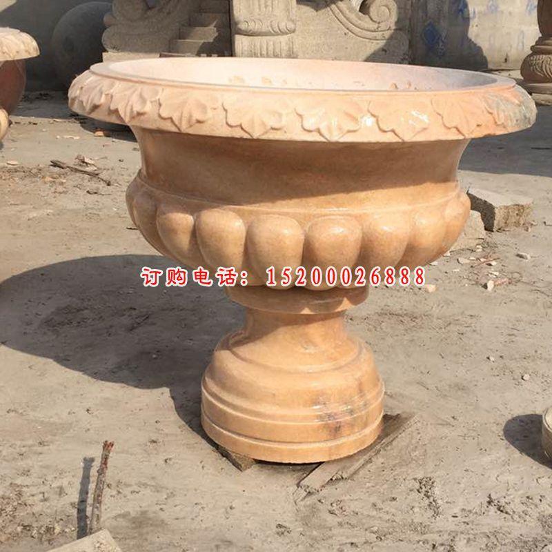 黄锈石花钵  石雕花盆  (2)