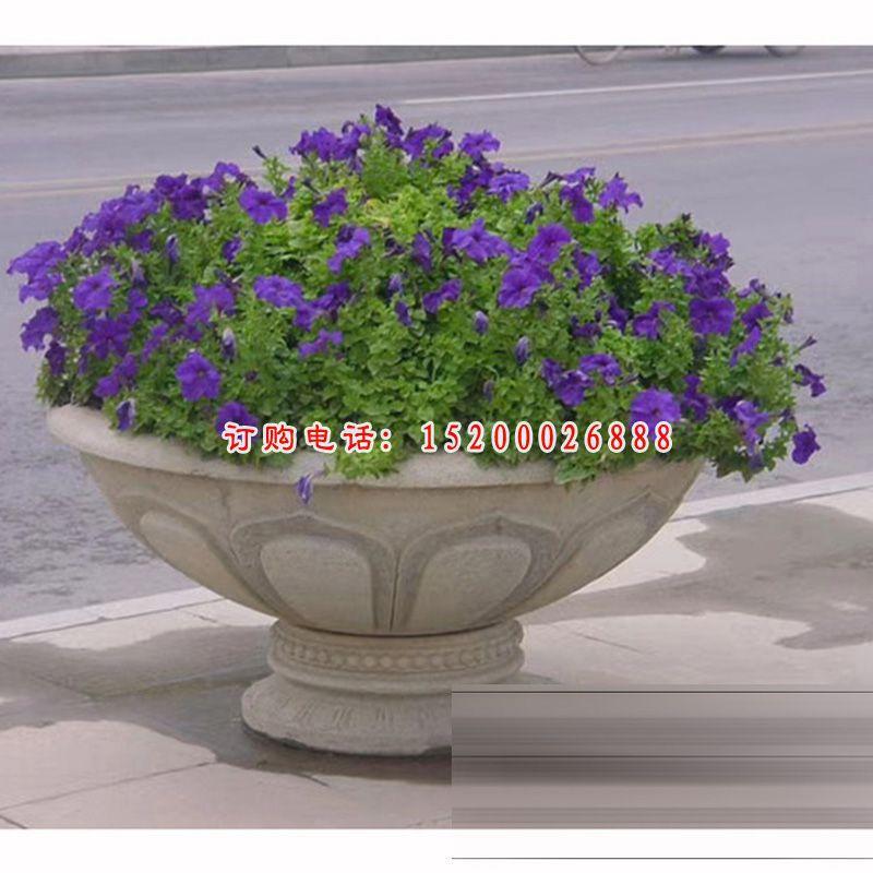 公园花盆石雕,小型石花盆 (2)