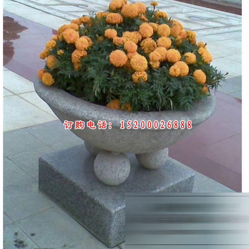 公园花盆石雕,小型石花盆