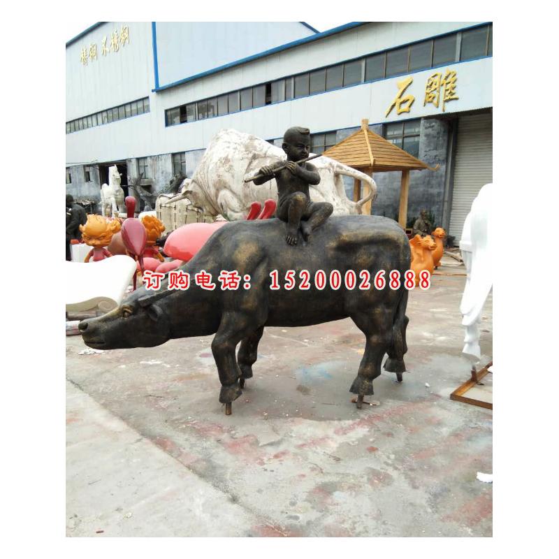 玻璃牧童骑牛雕塑