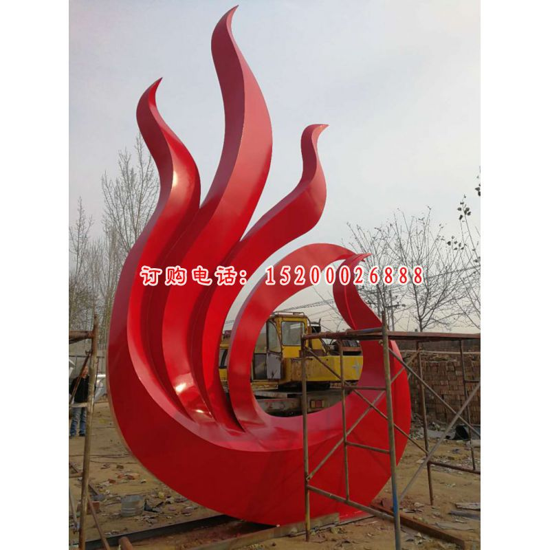不锈钢火凤凰雕塑