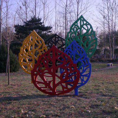 不锈钢树叶雕塑 不锈钢彩色树叶
