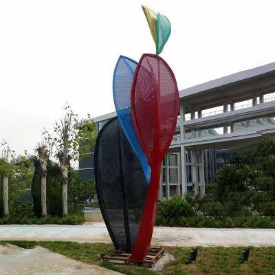 彩色不锈钢雕塑  不锈钢叶子造型雕塑