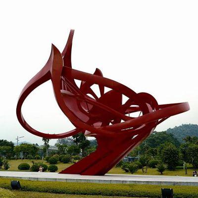 公园大型不锈钢雕塑  红色不锈钢雕塑