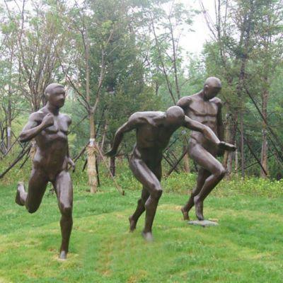 赛跑人物铜雕,公园景观雕塑