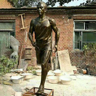 跑步的人物铜雕,公园运动人物雕塑