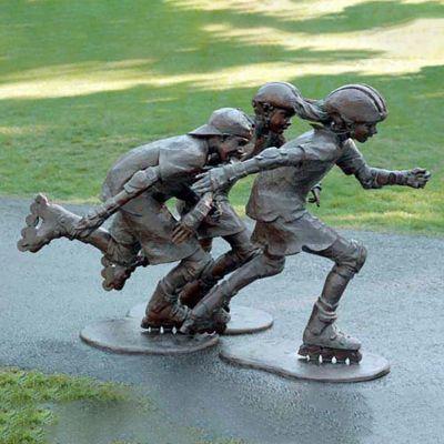 铜雕公园轮滑人物雕塑