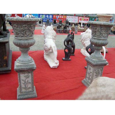 石雕花盆雕塑,公园景观石雕