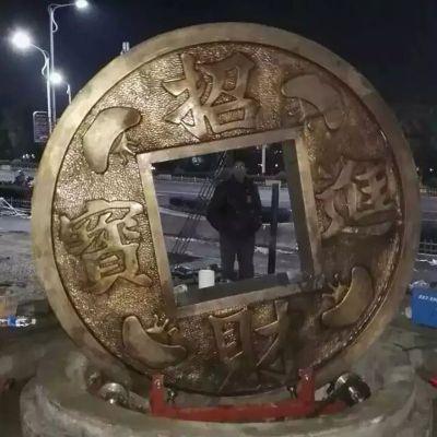 铜钱雕塑,招财进宝铜雕