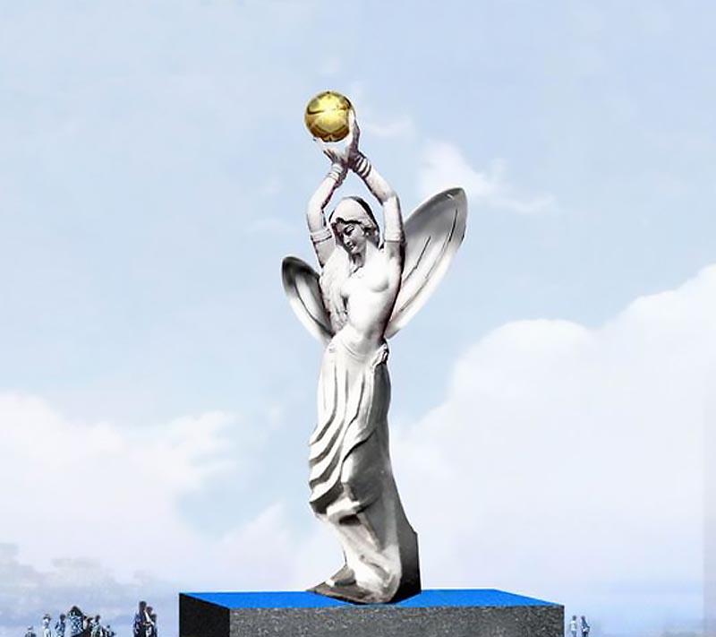 创意女人双手捧球广场景观雕塑,人物不锈钢雕塑 (2)