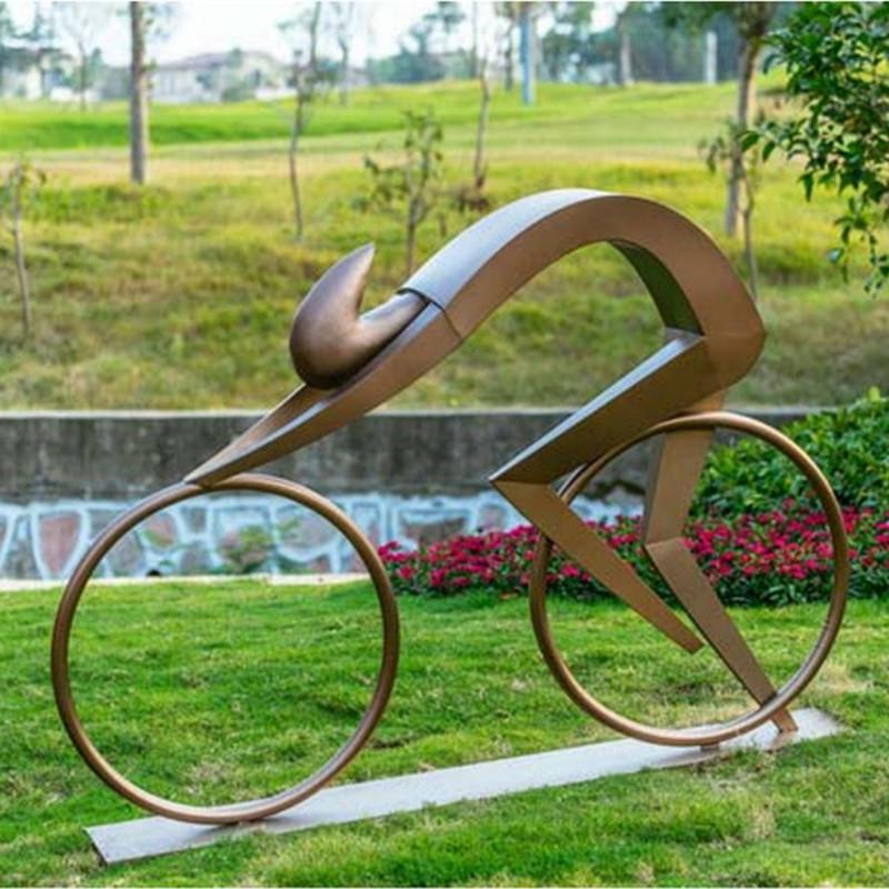 骑车人物雕塑,不锈钢抽象运动人物雕塑