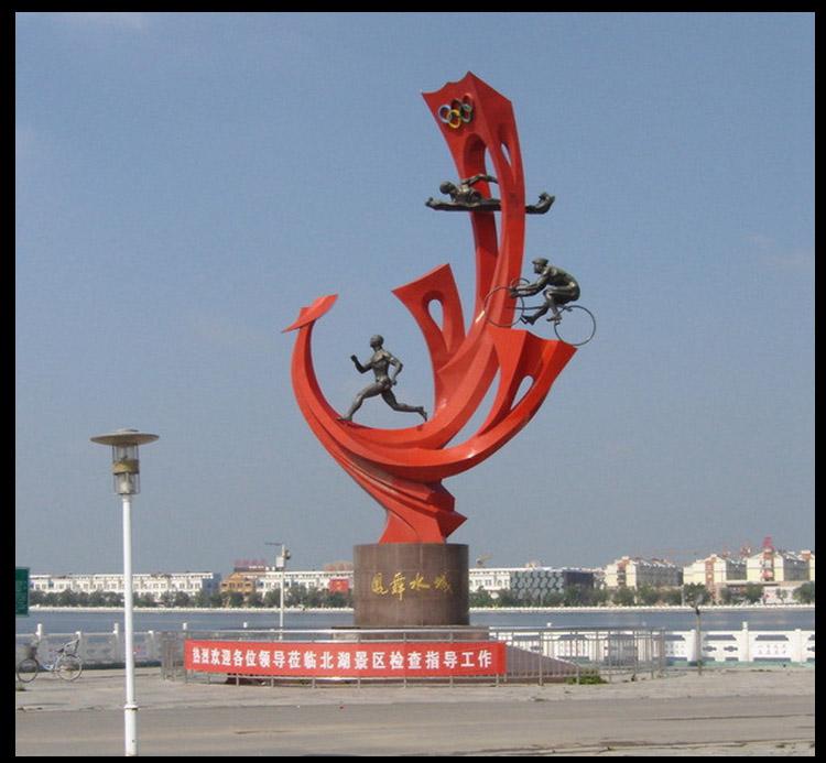 凤舞水城雕塑,不锈钢景观雕塑