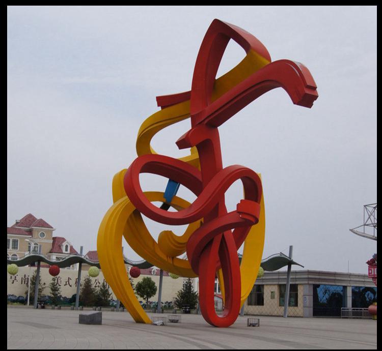 大型抽象彩色线条缠绕户外景观,不锈钢雕塑
