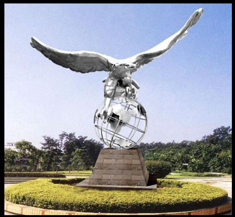 户外大型鹰广场景观,不锈钢动物雕塑