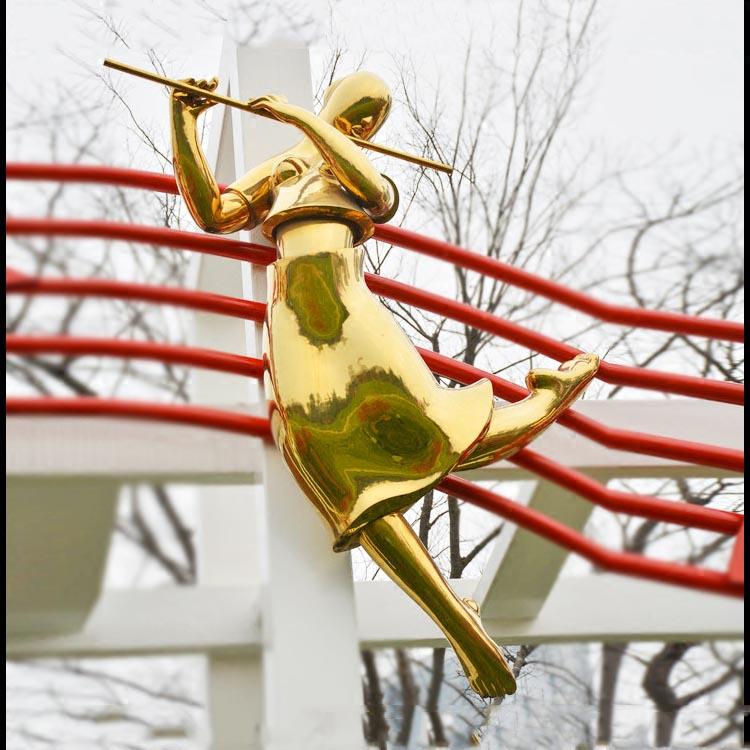 抽象人物吹笛雕塑,不锈钢雕塑