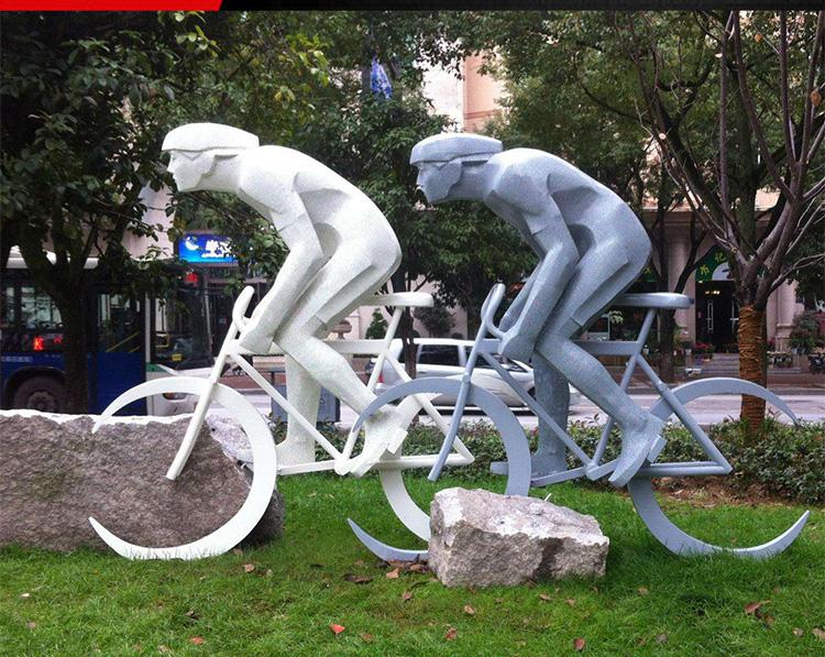 不锈钢骑自行车人物 公园人物雕塑