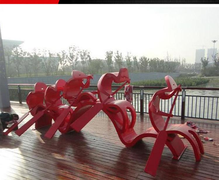 不锈钢划船人物 广场人物雕塑