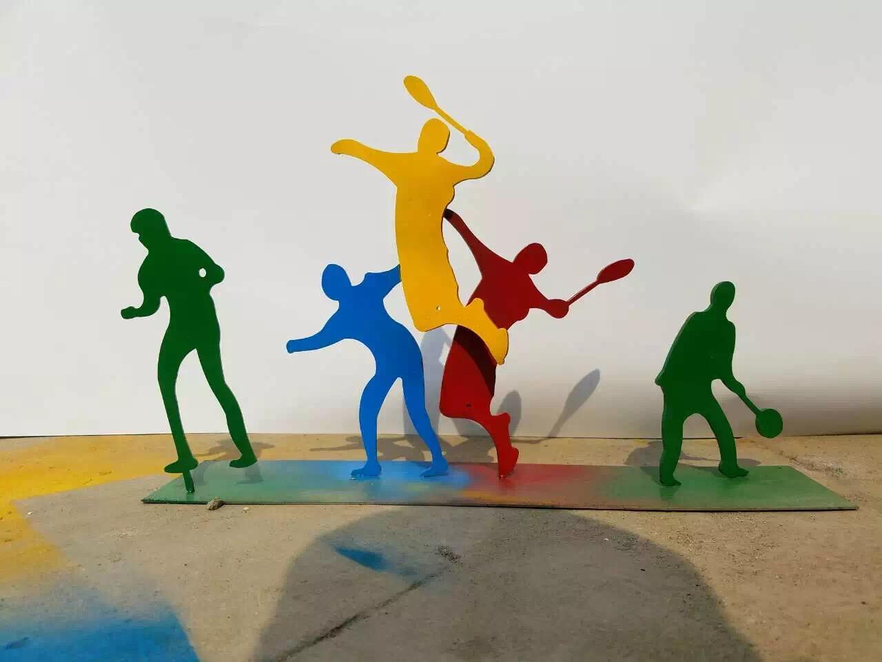 不锈钢打羽毛球雕塑,抽象人物不锈钢雕塑_wps图片