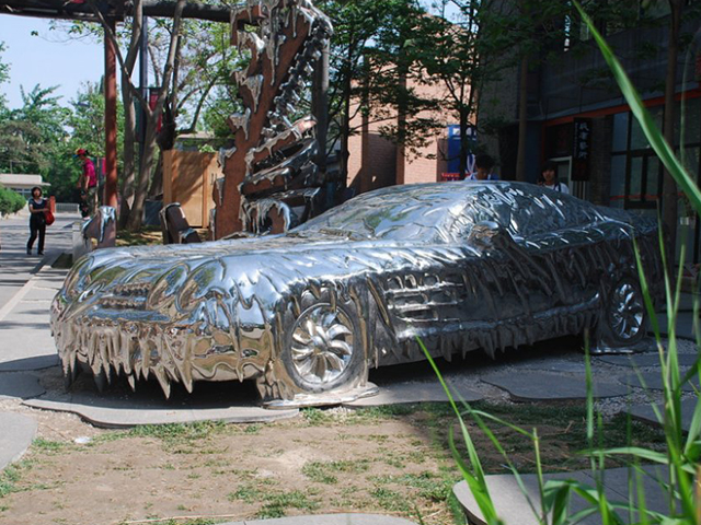 不锈钢汽车雕塑,景观不锈钢雕塑_wps图片