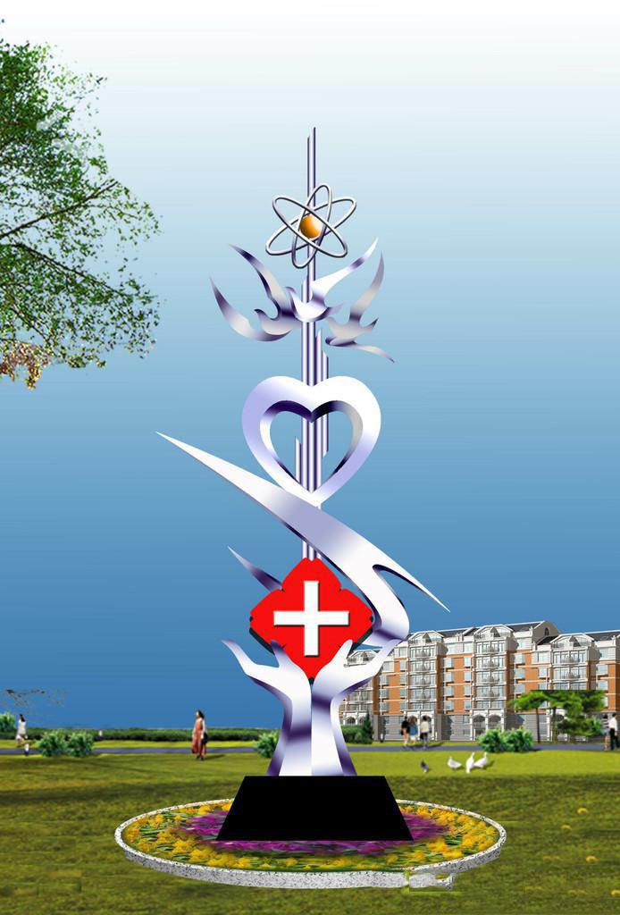 医者仁心雕塑,医院不锈钢雕塑_wps图片