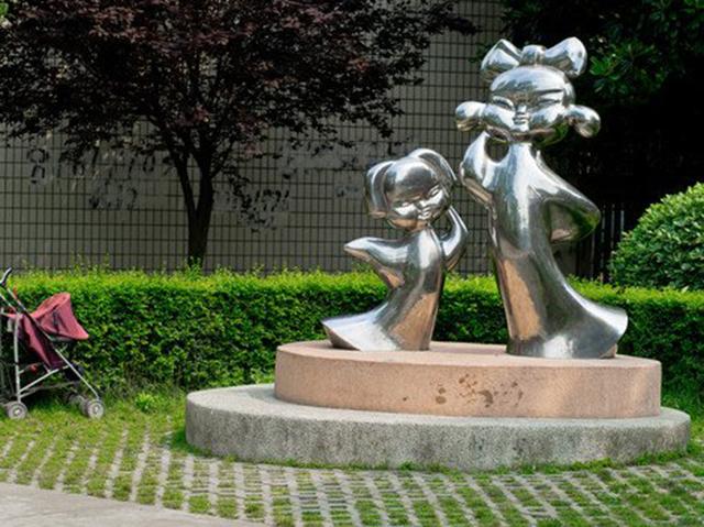 不锈钢古代小孩雕塑,公园不锈钢抽象人物雕塑_wps图片