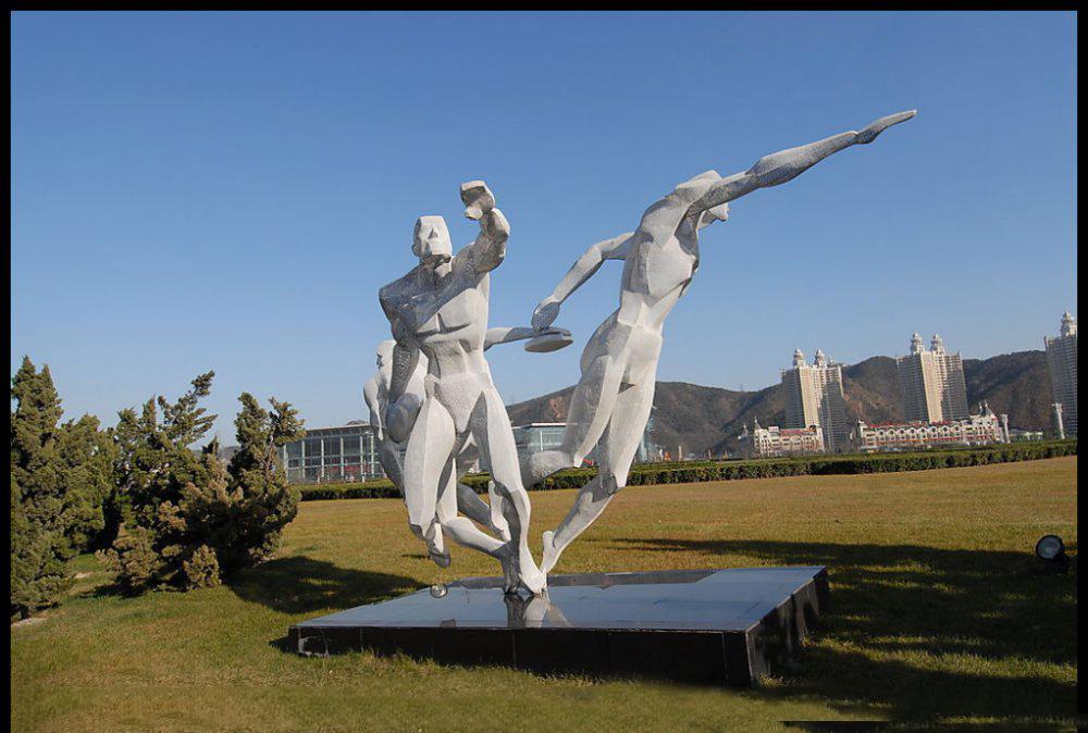 掷铁饼雕塑 不锈钢抽象人物雕塑 公园景观雕塑_wps图片