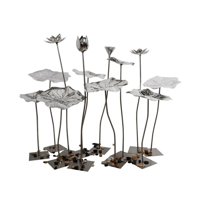 不锈钢金属荷花雕塑