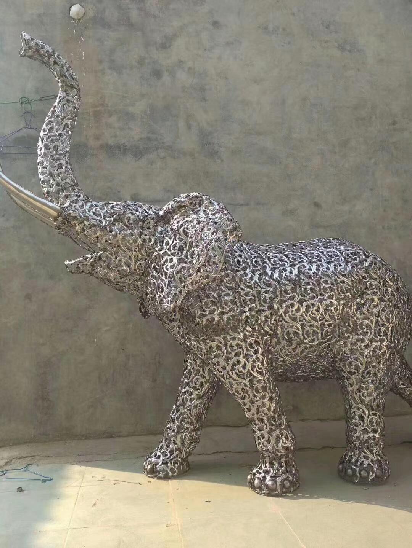 不锈钢公园大象雕塑