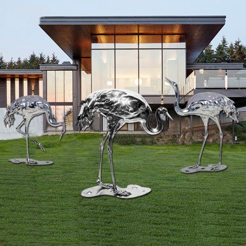不锈钢仙鹤动物雕塑
