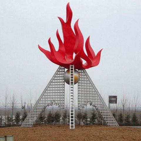 不锈钢大型火炬雕塑