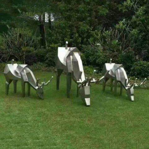 不锈钢公园创意鹿雕塑