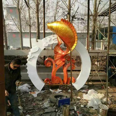 不锈钢鲤鱼雕塑
