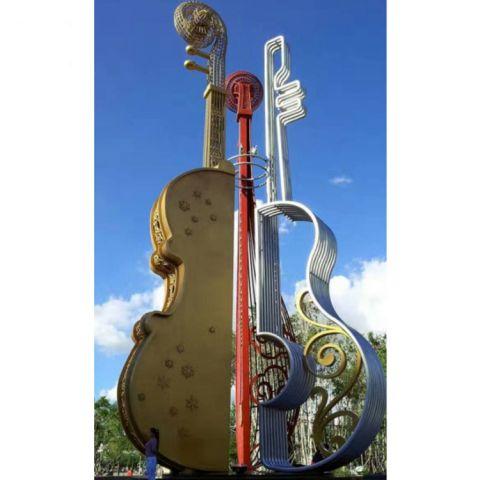 不锈钢小提琴景观雕塑